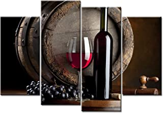 iKNOW FOTO Large 4 Pieces Wall Art Kitchen Canvas Artwork Fruits Grapes Wine Bottle Foods Canvas Painting Contemporary Barrel Pictures Dining Room Wall Decor Home Decoration