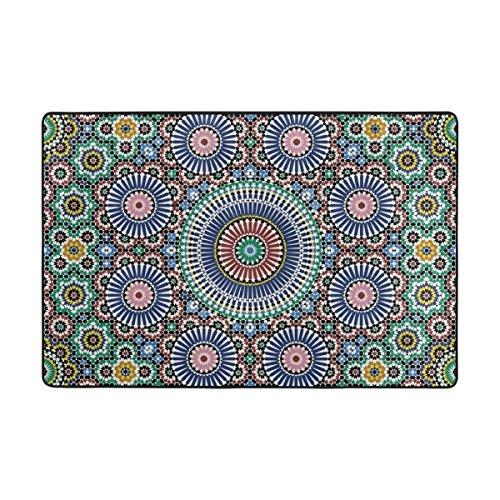 LIANCHENYI Traditionelle arabische Kreise rutschfeste Fußmatte Bereich Teppich Teppich Fußmatten Fußmatte Innen- und Außenbereich Badezimmer 91,4 x 61 cm