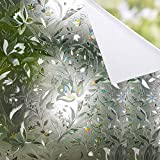 Shackcom Privacy Window Film 23.6'' X 78.7'', 3D Decorative Window Stickers Rainbow Frost Window Decals, No Glue Static Cling Non-Adhesive Stained Glass Door Glass Cover, White