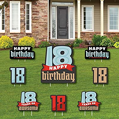 Big Dot of Happiness Boy 18th Birthday - Yard Sign and Outdoor Lawn Decorations - Eighteenth Birthday Party Yard Signs - Set of 8