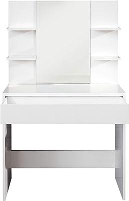trendteam smart living Jugendzimmer_Kinderzimmer Schminktisch Frisiertisch Kosmetiktisch Basix, 85 x 140 x 40 cm Weiß mit viel Ablagefläche