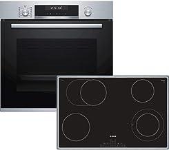 Bosch HBD672CS81 - Juego de horno (empotrable, A, 59,4 cm, acero inoxidable, puerta plegable, autopiloto 30, pirólisis, placa de cocina eléctrica autosuficiente, pantalla LCD blanca, marco giratorio)