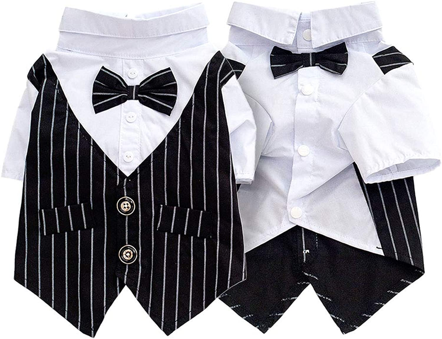 Pet Fashion Couture Dog Tuxedo Wedding Party Suit Gentleman Dog Attire with Bowite,Black,M