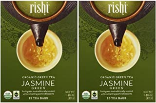 Rishi Tea Organic Green Tea Jasmine -- 15 Tea Bags (Pack of 2)