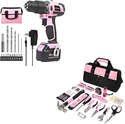 discount WORKPRO Pink Cordless 20V Lithium-ion Drill online popular Driver Set with Storage Bag and Home Repairing Pink Tool Set with Wide Mouth Open Storage Bag online sale
