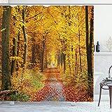 ABAKUHAUS Wald Duschvorhang, Laubblätter Herbst, Waschbar & Leicht zu pflegen mit 12 Haken Hochwertiger Druck Farbfest Langhaltig, 175 x 200 cm, Gelbbraunen