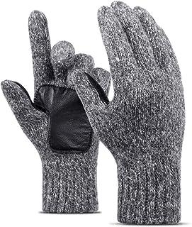 aefffc2f9aebb TZTED Gants Hiver Cuir Super Chaud Moufles avec Thermique Gloves pour Hiver  Sport Homme Femme