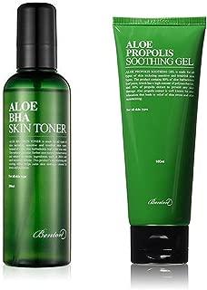 Benton Aloe BHA Skin Toner and Propolis Soothing Gel with Ponytail Elastics
