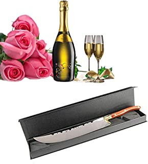 XuSha Champagne Saber Bottle Opener Champagne Sword Wine Knife Red Wood Handle with Black Gift Box