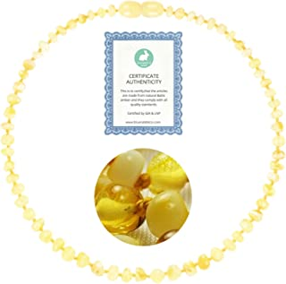 Amber Necklace (13 inches) | GIA Certified 100% Pure Baltic Amber - Unisex (Lemon Milk Amber Jewelry Necklace)