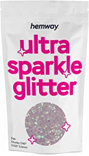 """Hemway Chunky Premium Multi Purpose Glitter 1/40"""" 0.025"""" 0.6mm 625 microns Dust/Powder 100g / 3.5oz for Crafts Cosmetic Wi..."""