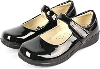 DADAWEN Girl's Strap School Uniform Dress Shoe Mary Jane Flat (Toddler/Little Kid/Big Kid) Black/Patent US Size 13 M Littl...