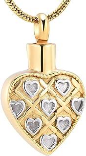 WANFJ Pendant Cremation Jewellery Collana con Ciondolo A Forma di Urna A Cuore Liscio in Acciaio Inossidabile Impermeabile...