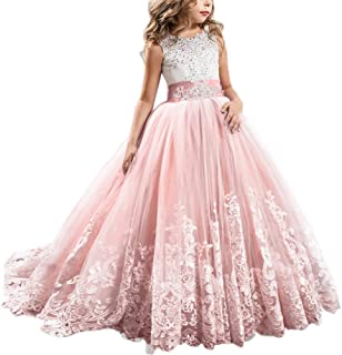 Qfeng Flower Girls Lace Wedding Dresses Kids Lace Embroidered Dress Princess Bridesmaid Evening Pageant Birthday Christmas...