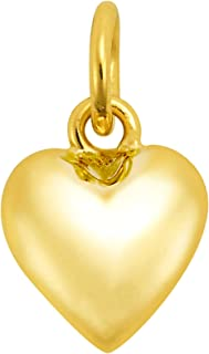 AeraVida Simply Beautiful Heart Shaped Gold Over .925 Sterling Silver Charm Pendant