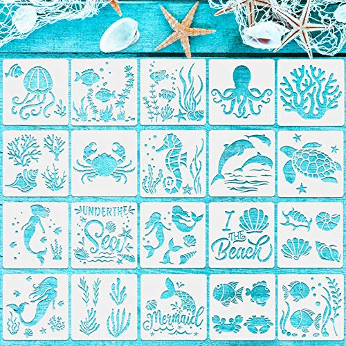 20 Plantillas de Criaturas Marinas Plantillas de Pintura de Mar Plantillas Reutilizables de Pintura de Animales Marinos para...