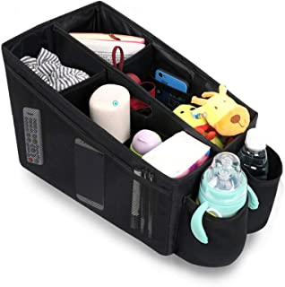 Meinkind Car Organizer Car Trunk Organizer Front & Back Seat Storage Box with 6 Large Pockets, Collapsible Large Car Seat Organizer for Toys & Books