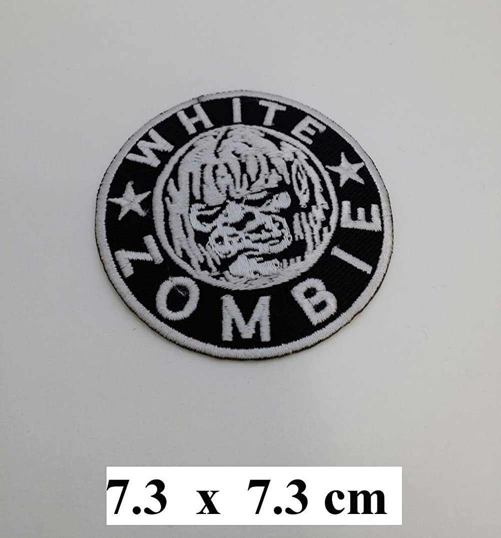 WHITE ZOMBIE ROB Heavy Metal Logo Iron On Sew On Embroidered Patch 2.9