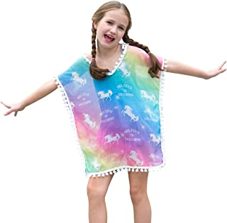 27c896bd1f Sylfairy Unicorn Cover Up for Girls Rainbow Swimwear Coverups Swimsuit  Beach Dress Top with Pompom Tassel