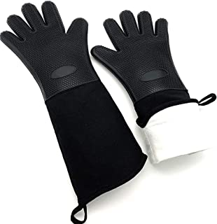 DAMUZHI Oven Gloves,Extra Long Silicone Oven Mitts,BBQ Kitchen, Heat Resistant,Cooking,Baking,Grilling,Heavy Duty,Black,Be...