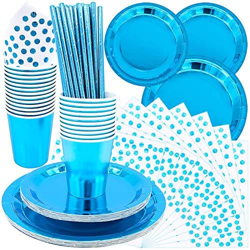 99 piezas Juego de vajilla desechable, vajilla azul para banquetes, fondo azul mejorará tu diseño de mesa y combinará con cualquier tema de fiesta