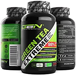 Green Tea Extreme - 180 capsules - 1370 mg green tea extract per daily dose - 95% polyphenols & 45% EGCG & piperine - Laboratory-tested green tea - high dose - vegan - German Elite Nutrition