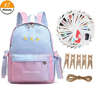 Kpop BTS TXT Backpack SchoolbagCollege Bag, with TXT Postcards LOMO Cards Photo Cards