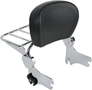 TTX LIGHTING Chrome Quick Release Detach Upright Passenger Backrest Sissy Bar W/Luggage Rack for Harley Touring Electra Glide Road Glide Road King Street Glide FLHT FLHX FLHR 1997-2008