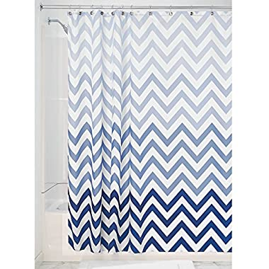 InterDesign 52020 Ombre Chevron Fabric Shower Curtain - Standard, 72  x 72 , Blue Multi