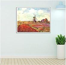 Campos de trabajo de Monet de tulipanes en Holanda Decoración del hogar Pintura Decoración regalo Lienzo Pintura Arte moderno de la pared -60x90cm Sin marco