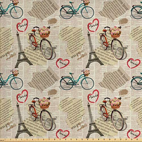 Ambesonne Romantic Fabric by The Yard, Newspaper Vintage Retro with Paris Lettering in Hearts Art Print, Decorative Fabric for Upholstery and Home Accents, 1 Yard, Beige Black