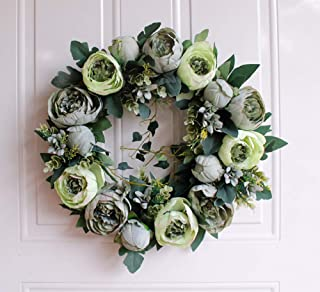 Liveinu Artificial Handmade Wreaths for Front Door with Twig Base Flowers Arrangements Wedding Table Centerpieces Wreath Garland Blooming Peonies Hydrangea Green 15.6 Inch