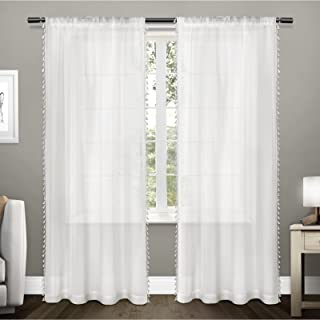 Exclusive Home Curtains Tassels Sheer Rod Pocket Top Panel Pair, White, 54x108, 2 Piece