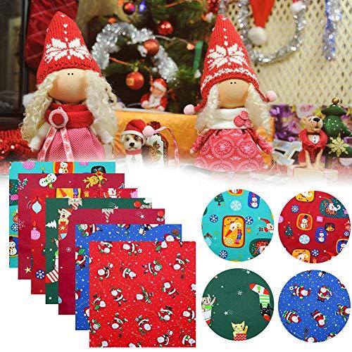 hook.s 8 Stück Weihnachtsbaumwollstoff, Nähen vorgeschnittenes Patchwork Bedruckte Stoffreste für DIY Weihnachtsstrumpf Baumkranz Puppenkleid Schürze Quilt Untersetzer (50 x 50 cm)