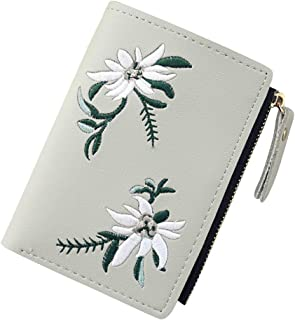 Wiwsi Female Faux Leather Card Holder Clutch New Purse Floral Design Mini Wallet