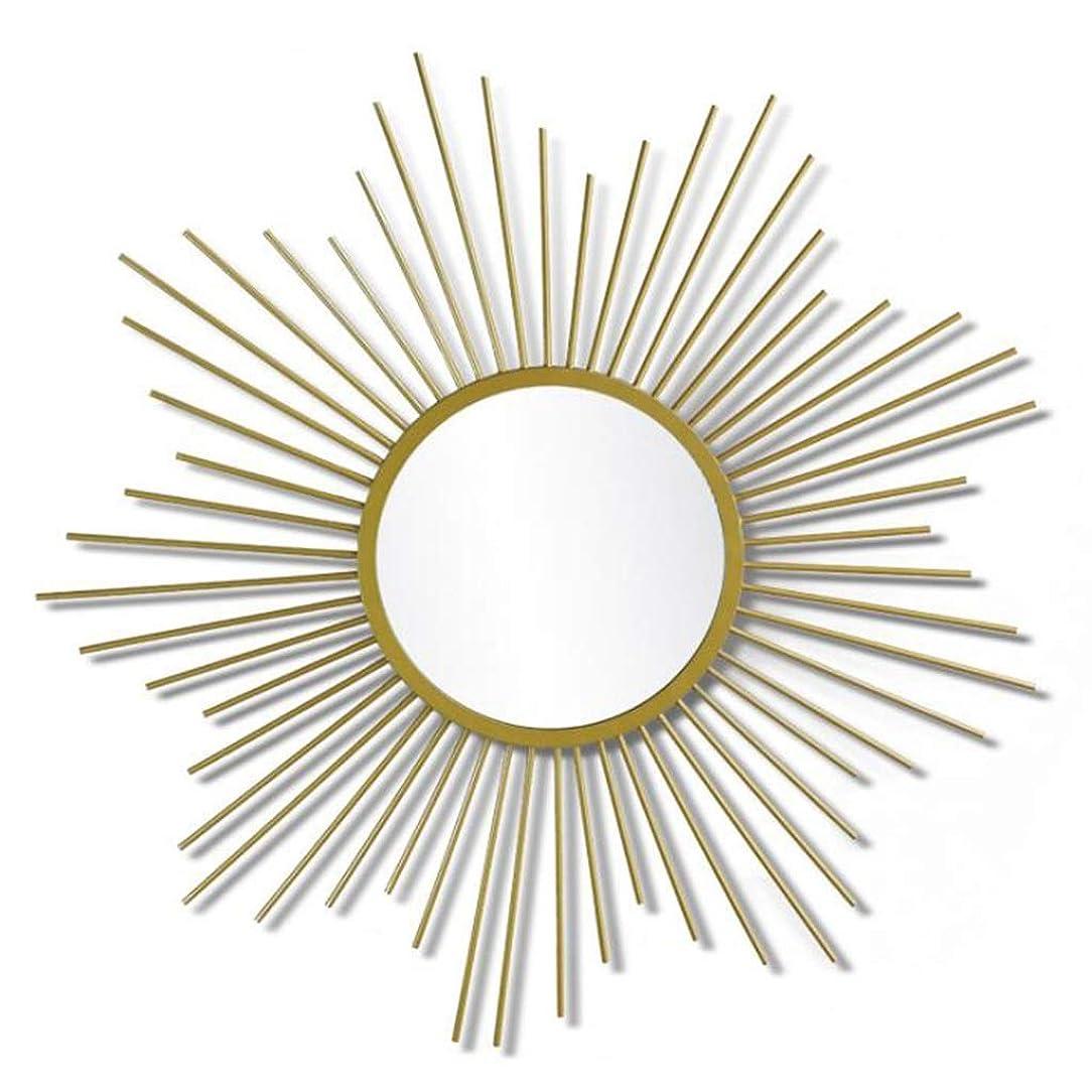 保護する映画音JXSHQS ウォールミラーゴールドの太陽の形をした美しい装飾的なシャンパンミラーの壁掛け 化粧鏡