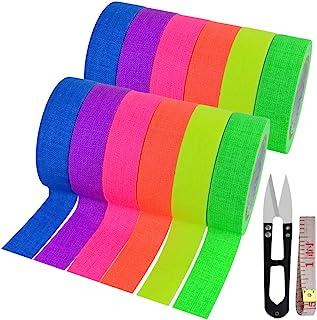 12 Pack UV Blacklight Reactive 6 Color Fluorescent Tape Fluorescent Cloth Tape Colorful Neon Gaffer Tape Neon Reflective T...
