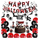 Xinhen Halloween Theme Party Decoration Set Feliz Halloween Banner Black Brillo Remolinos Ghost Cake Topper para Halloween Decoración