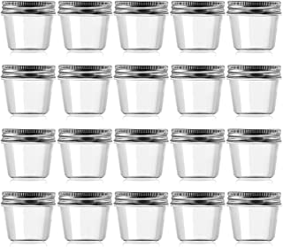 Novelinks 4 Ounce Clear Plastic Jars Containers With Screw On Lids - Refillable Round Empty Plastic Slime Storage Containers for Kitchen & Household Storage - BPA Free (20 Pack)