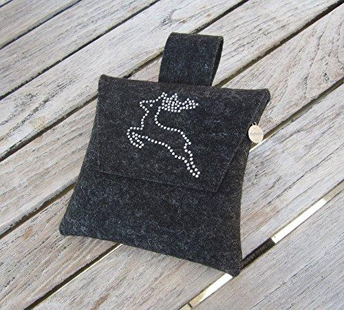 zigbaxx Wiesn-Bag SPRINGBOCK/Trachtentasche, Gürteltasche, Bauchtasche, Dirndl-Tasche aus Woll-Filz mit Springbock aus Strass, grau/anthrazit-schwarz/pink/beige