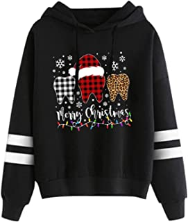 Womens Casual Merry Christmas Printed Striped Shoulder...