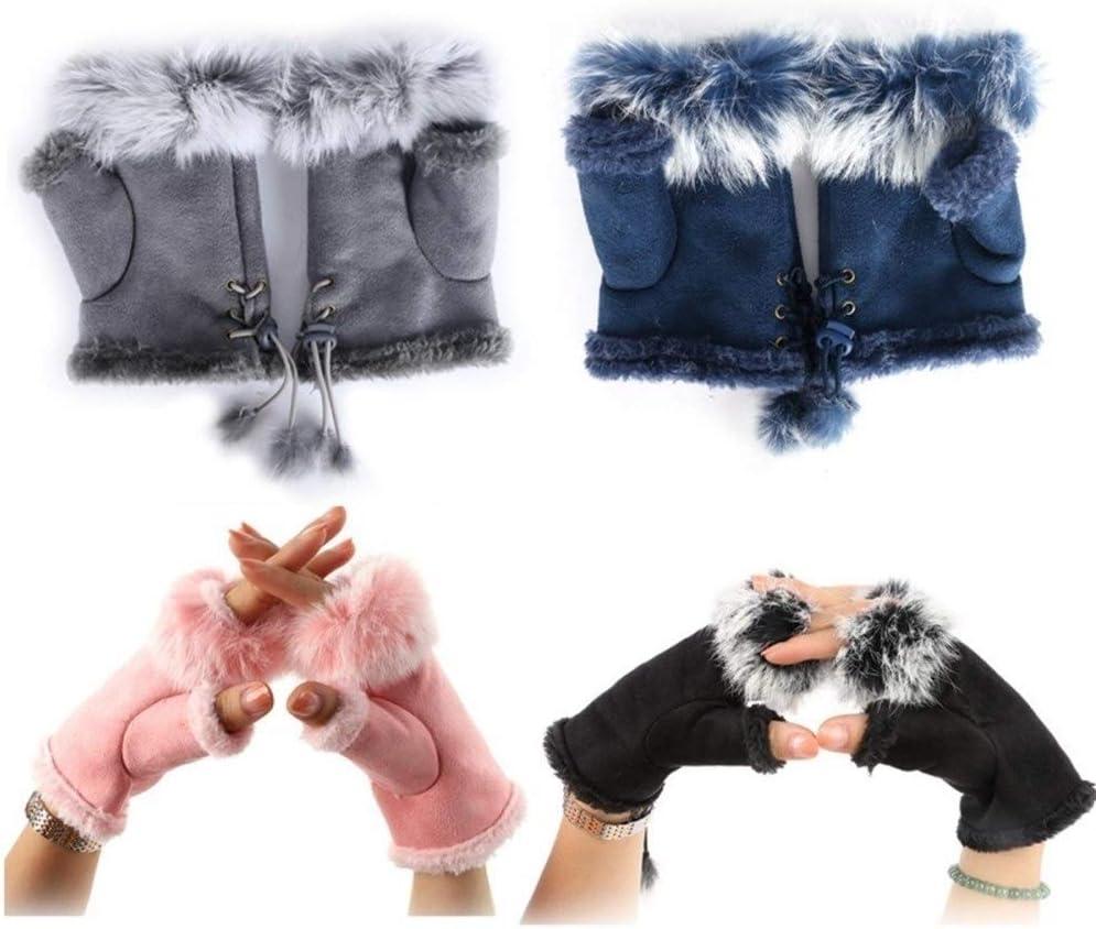HABADOG 1 Pair Women Warm Gloves Winter Glove Hand Wrist Warmer Fingerless Gloves (Color : T)