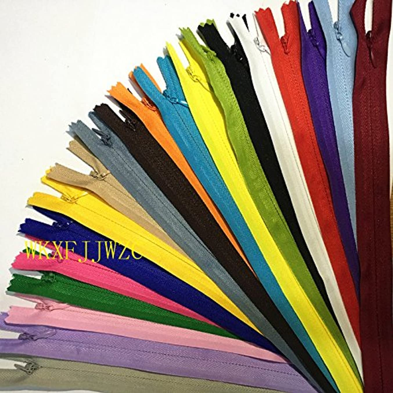 WKXFJJWZC 60pcs Nylon 3# Invisible Zippers Tailor Sewing Tools Garment Accessories 12 Inch (30CM)Closed End Invisible Zippers 20 Color (MIX)