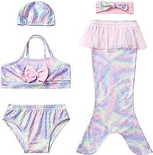 Fanessy Natación de Cola de Sirena de Niña Incluyendo Sirena Traje de Baño Bikini de 3 Piezas Cosplay Traje de Sirena Prin...