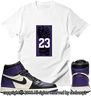 c0a5022ff79c3b Custom T Shirt Matching Style of Jordan 1 Retro High Court Purple JD 1-23