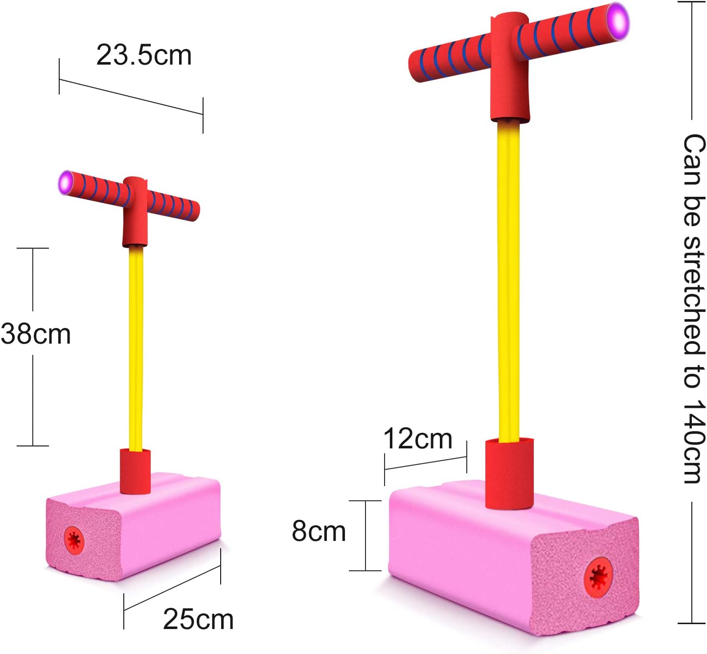 Pink Foam Pogo Jumper for Kids,Fun and Safe Jumping Stick,Foam Bouncing Toy with Flashing Led Lights and Squeaky Sounds for Boys and Girls Ages 3 /and up Toddler,Holds Up to 250 Lbs