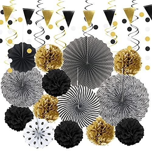 HONMOK 22PCS Abanicos de Papel Flores de pompones de papel Banderines triangulares negro dorado Espiral de doble cola Pom...