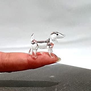 Sansukjai Rare Dachshund Tiny Micro Crystal Figurines Hand Blown Clear Glass Art Animals Collectible Dog-Lover Gift Home Decor
