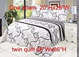 Microfiber Quilt Set,Prewashed, Preshrunk. Hypoallerginic, Print Pattern Stitched with Threads, Twin Bed-Cover with 1 sham, AS Coverlet bedcover