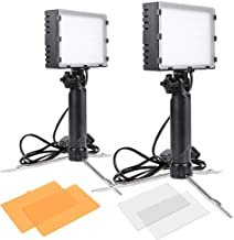 Slow Dolphin 2 Sets Photography Continuous 60 LED Portable Light Lamp for Table Top Photo Studio with Color Filters